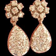 Sparkling 14K White Gold 0.82 ct. Diamond Drop Earrings