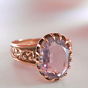 Lovely Antique 10K Rose Gold Engraved Amethyst Ring