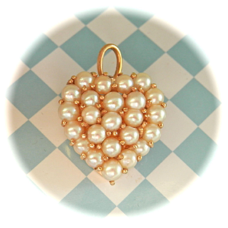 Stunning Vintage French 18K&14K Pearl Cluster Heart Pin Pendant