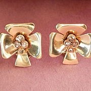 Stunning Vintage 14K Gold Rose-Cut Diamond Earrings