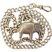 Terrific Victorian Silver Watch Chain & Elephant Fob