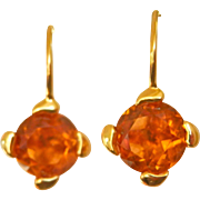 Striking 18K Gold Madeira Citrine Drop Earrings
