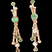 Stunning! Estate 14K W/Gold 1.20 ctw. Emerald Diamond Drop Earrings