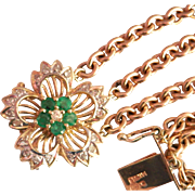 Beautiful Heavy 14K Gold Emerald Diamond Vintage Bracelet