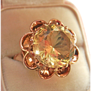 Huge! Vintage 14K Rose Gold 7.43 ct. Citrine Flower Ring