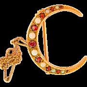 Terrific 9K Gold Opal Garnet Crescent Moon Pin