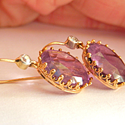 Dreamy 9K/9CT Gold 13.00 ctw. Amethyst Diamond Large Drop Earrings