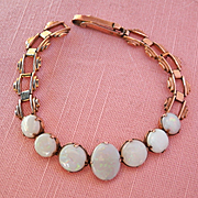 Beautiful Antique 9K/9CT Rose Gold Graduated Opal Bracelet