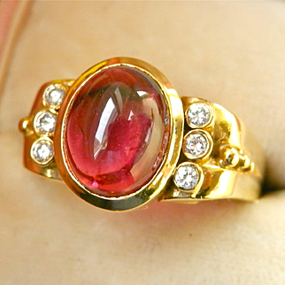 Exquisite Heavy 18K Gold 3.10 ct. Pink Tourmaline Diamond Ring~11.0 grams!