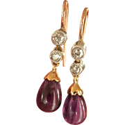 Lovely Vintage/Antique 14K, 9K Gold Platinum Amethyst Drop Earrings