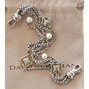 David Yurman 18K & Sterling Multi-chain Pearl Quatrefoil Heavy Bracelet