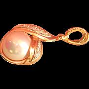 Stunning 14K Gold Designer Mabe Pearl Diamond Pearl Enhancer Pendant