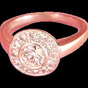 Exquisite 18K White Gold 0.80 ct. Diamond Target Vintage Ring