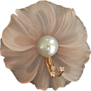 Exquisite 14K Gold Carved Rock Crystal Pearl Diamond Pin~1950's