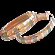 Jumbo 14K Multi-Gold Colour Hoop Vintage Earrings