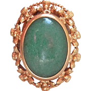 Bold 18K Gold Antique Aventurine Ring