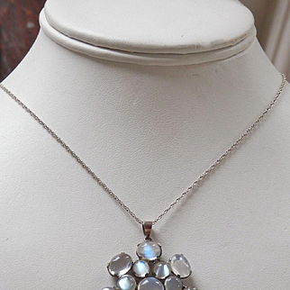 Stunning Multi-Moonstone Vintage Silver Pendant w/Chain