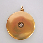 Lovely Large Antique 10K Gold Diamond Locket Pendant