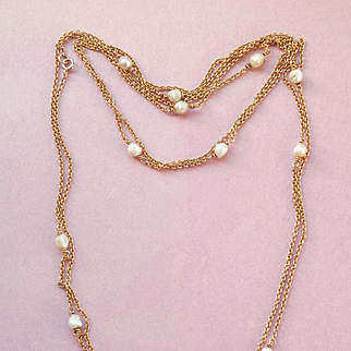 "Terrific Victorian Long 50"" 14K Yellow Gold Natural Seed Pearl Necklace"