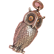 Fabulous Detailed Sampson Mordan Co. Silver Novelty Owl Fob/Pendant