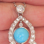 Stunning! Large Antique/Vintage 18K White Gold Turquoise 2.51 Ct. Diamond Drop Necklace