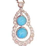 Large Early 20th Century 18K White Gold Turquoise 2.51 Ct. Diamond Drop Necklace