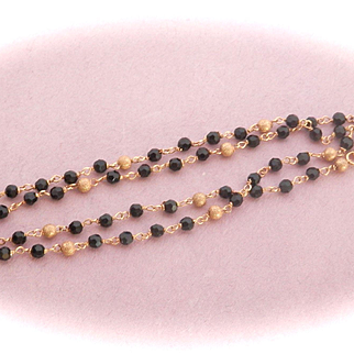Pretty 14K Gold Onyx Gold Bead Necklace