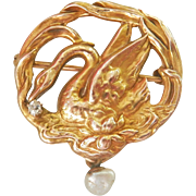 Lovely Art Nouveau 10K Gold Detailed Swan Diamond Pearl Drop Pin