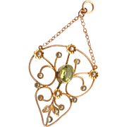Antique 9K 9CT Gold Peridot Seed Pearl Drop Pendant