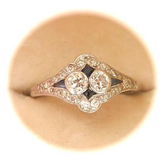 Lovely Edwardian Diamond Sapphire Platinum Ring