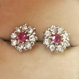 Pretty Vintage Ruby Diamond Cluster Earrings Hallmarked