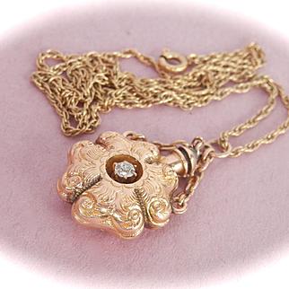 Amazing Victorian 14K Gold Diamond Etched Perfume Bottle Pendant