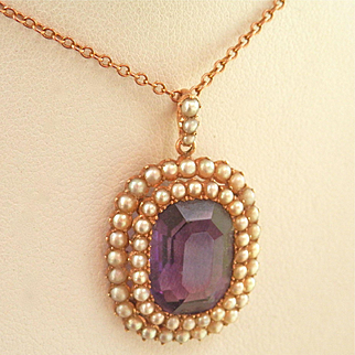 Stunning Antique 9K/9CT  Rose Gold 7.25 ct. Amethyst Seed Pearl Pendant w/Chain
