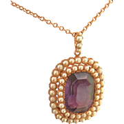 Antique 9K/9CT  Rose Gold 7.25 ct. Amethyst Seed Pearl Pendant w/Chain