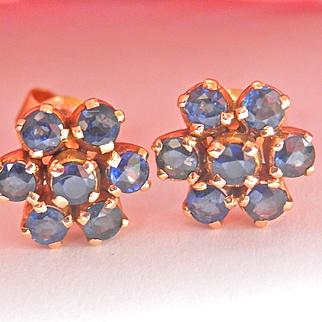 Lovely 18K Gold 1.40 ct. Blue Sapphire Flower Cluster Earrings