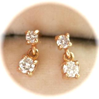 Sweet Vintage 9K/9CT Gold 0.28 ct. Diamond Drop Earrings