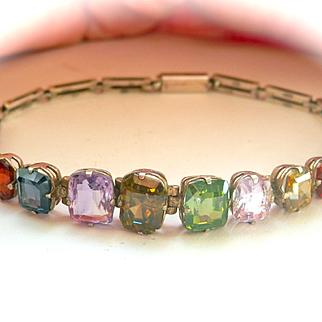 Fabulous Art Deco Multi-Gemstone Silver Bracelet