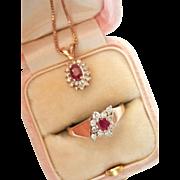 "Sale! 14K Gold Ruby Diamond Ring Pendant Vintage Set w/ 18""Chain"