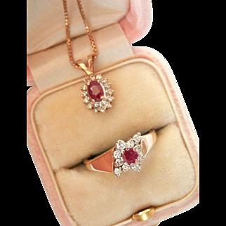 """Pretty 14K Gold Ruby Diamond Ring Pendant Set w/ 18""""Chain"""