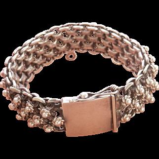 Terrific Heavy Joy-Mex Silver Cannetille Vintage Bracelet~76 grams!