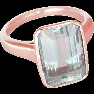 Stunning Heavy 18K Gold 4.30 Ct. Aquamarine Vintage Ring