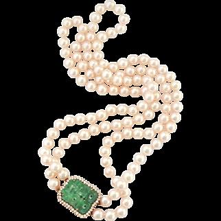 "Exquisite 18K Gold 18"" Pearl Jadeite Jade 0.86 ct. Diamond Necklace, App'l Included"