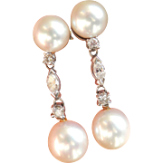 Sale! 14K Gold & Platinum Pearl Diamond Vintage Drop Earrings