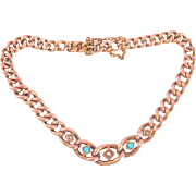 9K/ 9CT Antique Rose Gold Turquoise Seed Pearl Bracelet, signed