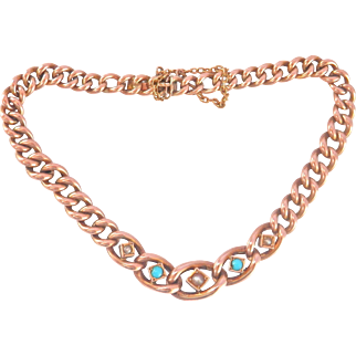 Lovely 9K/ 9CT Antique Rose Gold Turquoise Seed Pearl Bracelet, signed