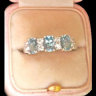 Striking 3-Stone Aquamarine Diamond Platinum Vintage Ring~5.45 gms