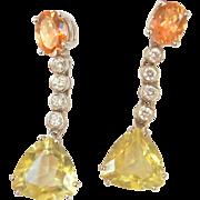 18K W/Gold Pink Topaz Green Quartz Diamond Large Drop Earrings~8.05 grams