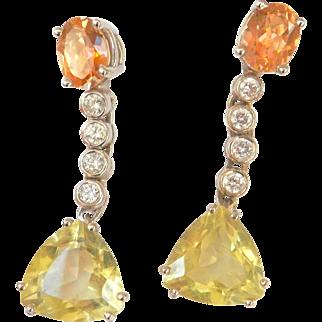 Beautiful 18K W/Gold Pink Topaz Green Quartz Diamond Large Drop Earrings~8.05 grams