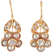 Antique 15K 15CT Diamond Pearl Flower Drop Earrings
