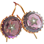 9K 9CT Antique Amethyst Seed Pearl Star-Set Pendant Earrings
